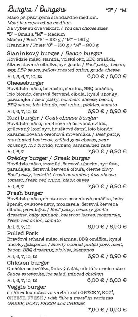 Estevecka burger menu